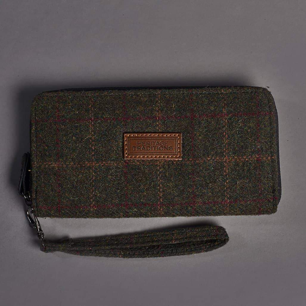 Long Zip Green Check Tweed Purse/Wallet