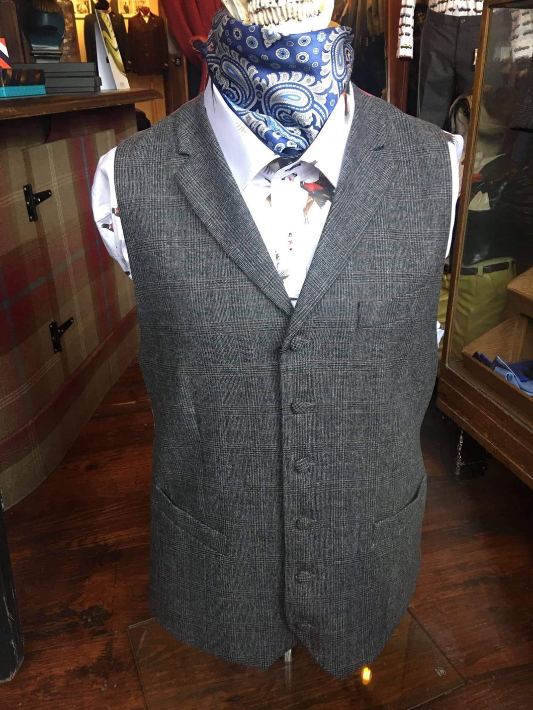Maddox Street Charcoal Grey & Burgundy Check Wool Suit Waistcoat 40