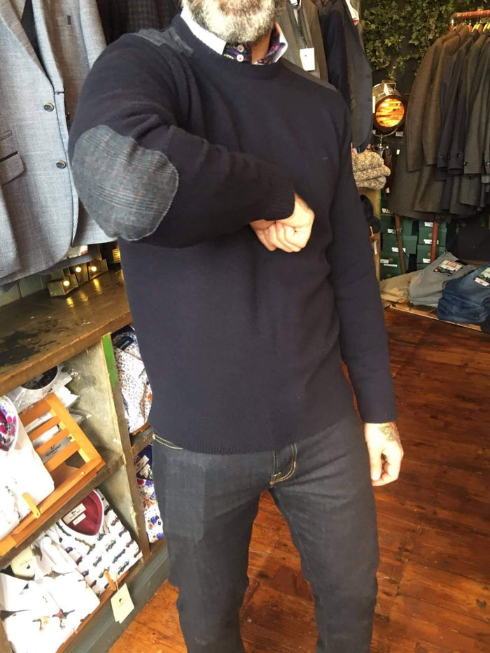 Maddox Street Navy Wool Sweater With Elbow Patches