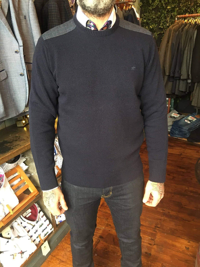 Maddox Street Navy Wool Sweater With Elbow Patches S