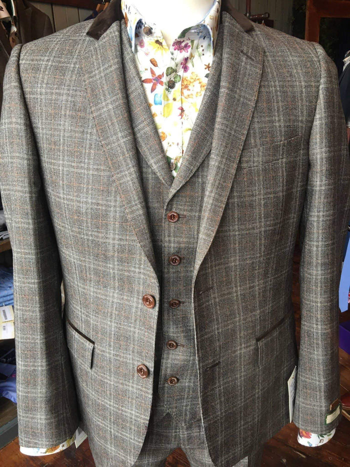 Magee Brown Wool With Blue And Orange Check Suit Jacket