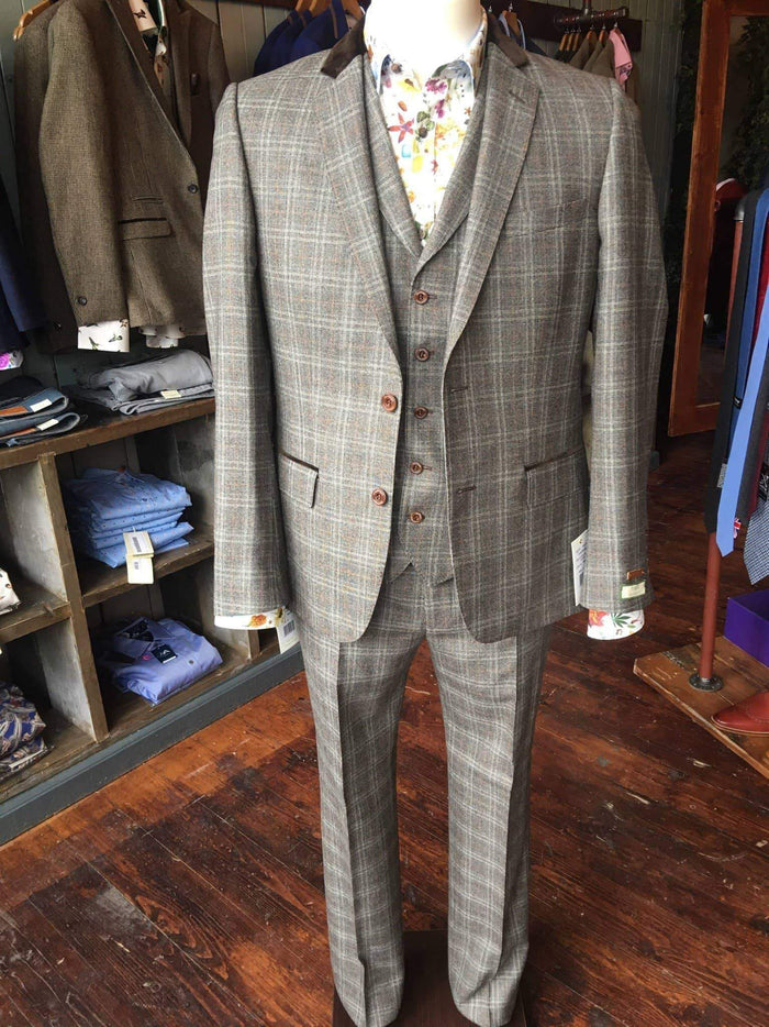 Magee Brown Wool With Blue And Orange Check Suit Jacket 36