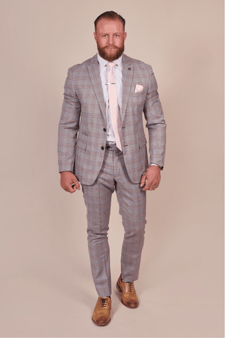 Marc Darcy Alvin Grey with Pink Check 2 Piece Suit marc-darcy-alvin-with-pink-check-blazer / marc-darcy-alvin-grey-with-pink-check-trousers