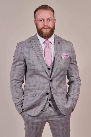 Marc Darcy Alvin Grey with Pink Check Blazer