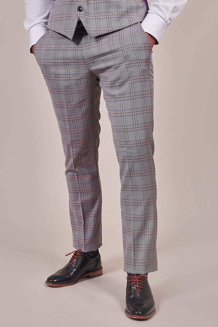 Marc Darcy Alvin Grey with Pink Check Trousers