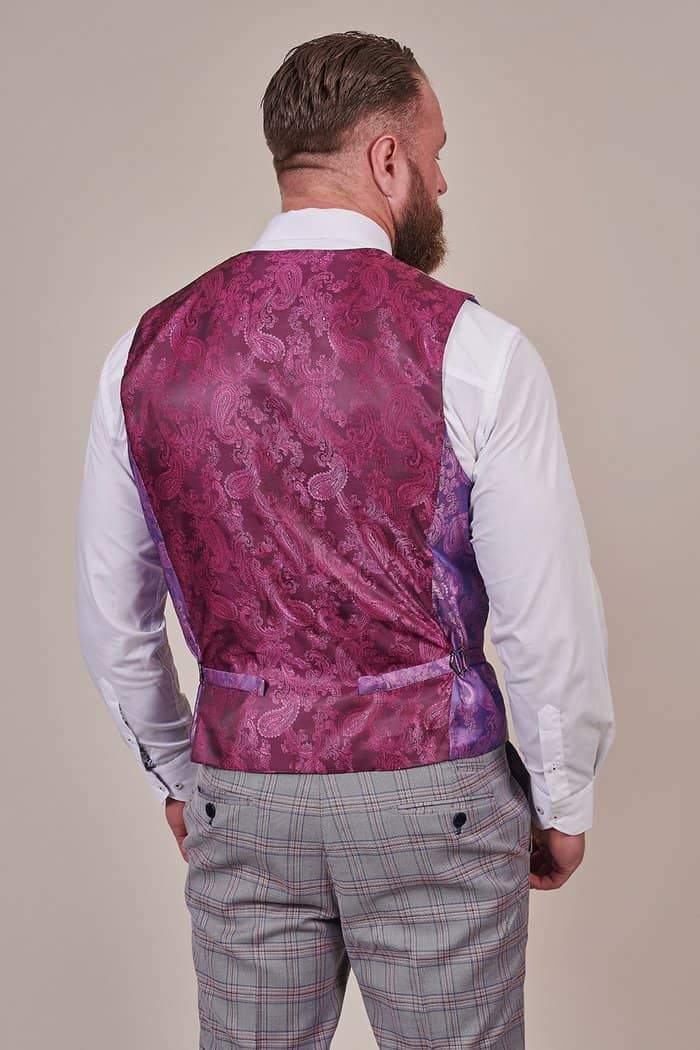Marc Darcy Alvin Grey with Pink Check Waistcoat