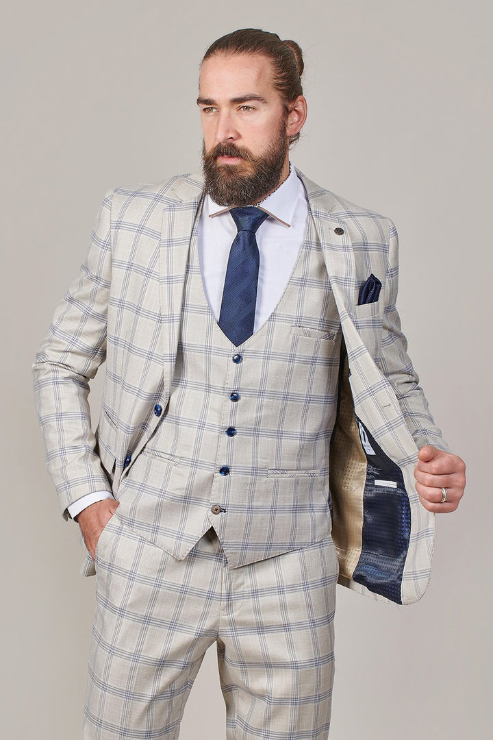 Marc Darcy Buxton Stone Check 3 Piece Suit marc-darcy-buxton-stone-check-blazer / marc-darcy-buxton-stone-check-waistcoat / marc-darcy-buxton-stone-check-trousers