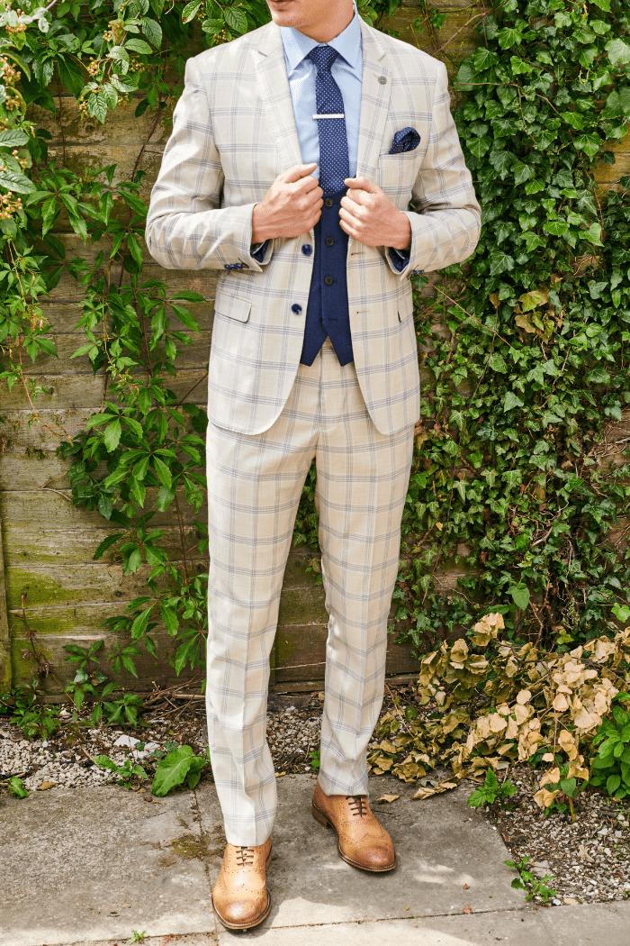 Social Outfit Marc Darcy Buxton with Navy Waistcoat and Sky Blue Shirt £361.96