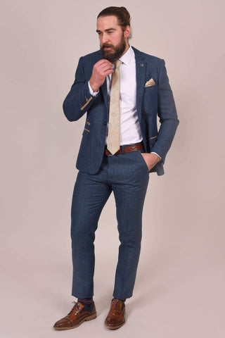 Marc Darcy Dion Tweed Herringbone Blue 2 Piece Suit marc-darcy-dion-tweed-herringbone-blazer-with-paisley-lining-blue / marc-darcy-dion-tweed-herringbone-check-trousers-blue