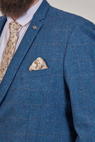 Marc Darcy Dion Tweed Herringbone Blue 3 Piece Suit marc-darcy-dion-tweed-herringbone-blazer-with-paisley-lining-blue / marc-darcy-dion-tweed-herringbone-waistcoat-with-dot-lining-blue / marc-darcy-dion-tweed-herringbone-check-trousers-blue