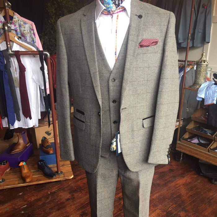 Marc Darcy Dion Tweed Herringbone Suit Jacket - Grey