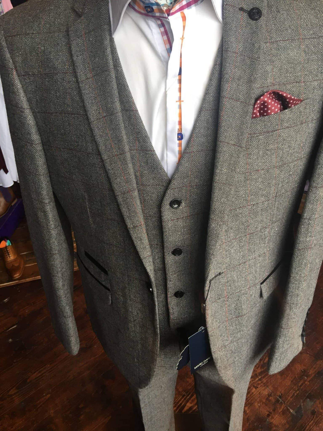 Marc Darcy Dion Tweed Herringbone Suit Jacket - Grey 34