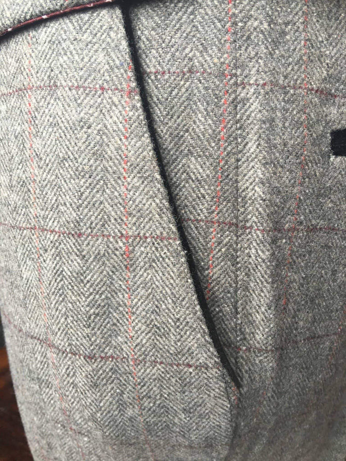 Marc Darcy Dion Tweed Herringbone Trousers - Grey