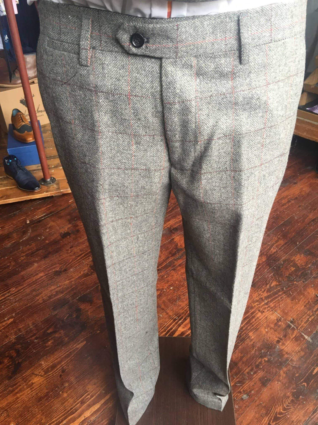 Marc Darcy Dion Tweed Herringbone Trousers - Grey 28