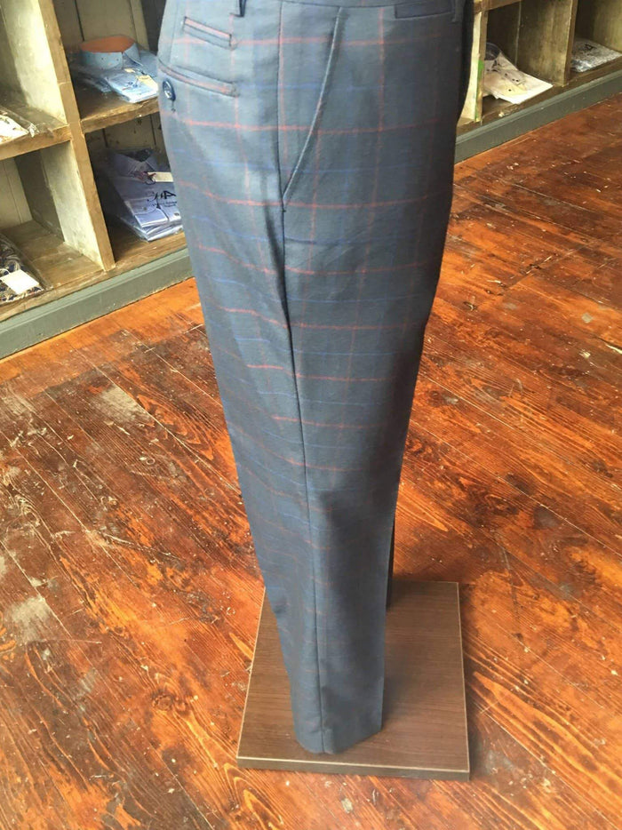 Marc Darcy Eddie Tonal Check Wing Collared Suit Trousers - Navy