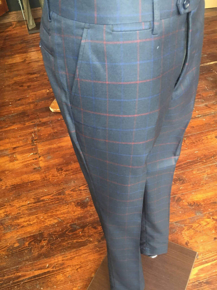 Marc Darcy Eddie Tonal Check Wing Collared Suit Trousers - Navy 28 / Navy