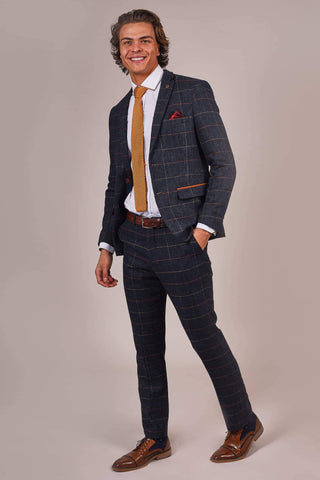 Marc Darcy Eton Navy Check Tweed Style 2 Piece Suit marc-darcy-eton-navy-check-tweed-style-suit-blazer / marc-darcy-eton-navy-check-tweed-style-suit-trousers