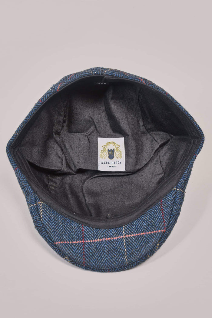 Marc Darcy Eton Navy Check Tweed Style Flat Cap