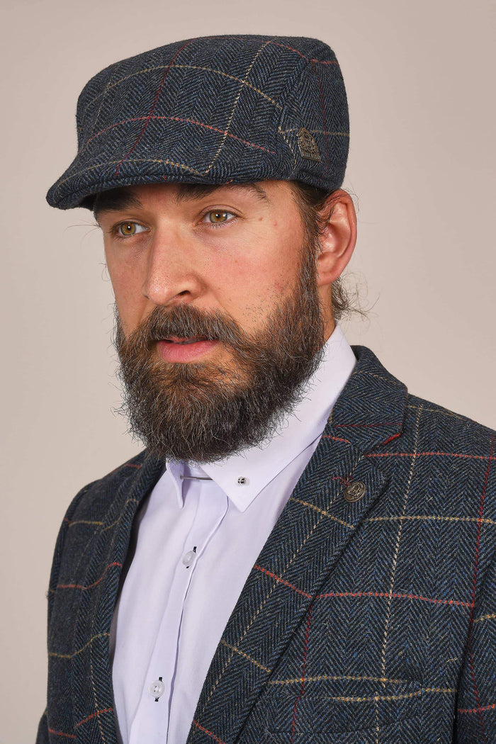 Marc Darcy Eton Navy Check Tweed Style Flat Cap S/M