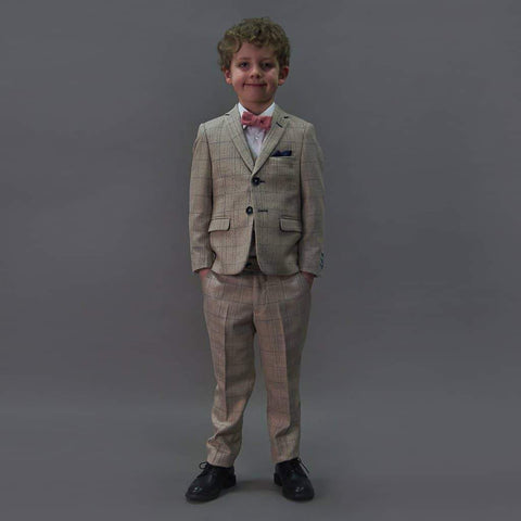 Marc Darcy Harding Cream Check Tweed Style Boys 3 Piece Suit Age 1