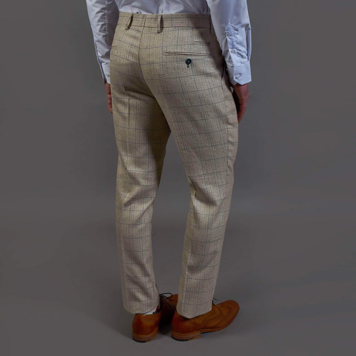Marc Darcy Harding Cream Check Tweed Style Trousers