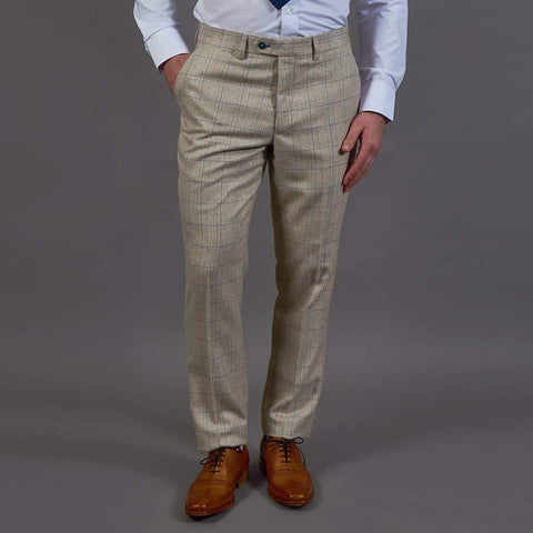 Marc Darcy Harding Cream Check Tweed Style Trousers 28R / Cream