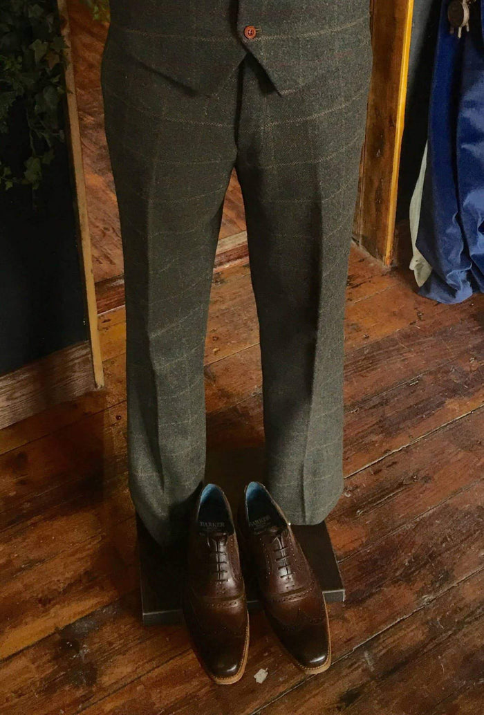 Marc Darcy Harris Heritage Tweed Suit Trousers - Olive 30R / Olive