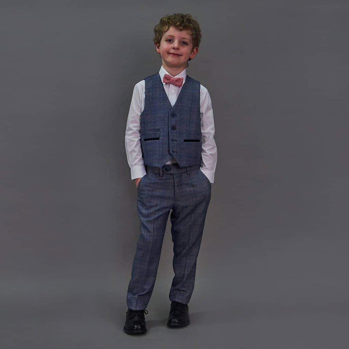 Marc Darcy Hilton Check Tweed Style Boys 3 Piece Suit