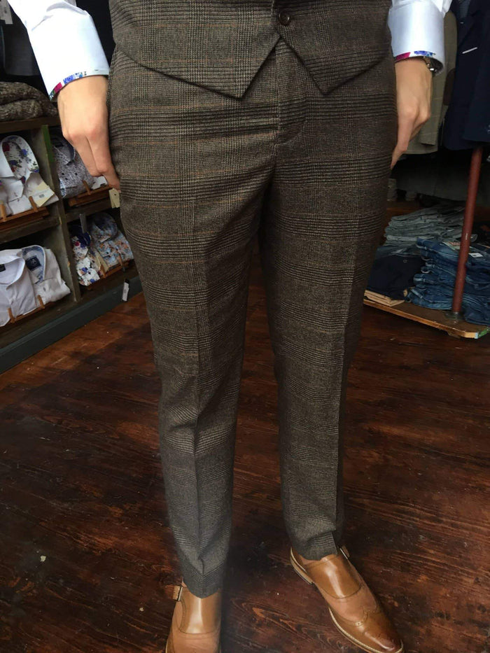 Marc Darcy James Multi Tonal Prince of Wales Check Suit Trousers - Brown