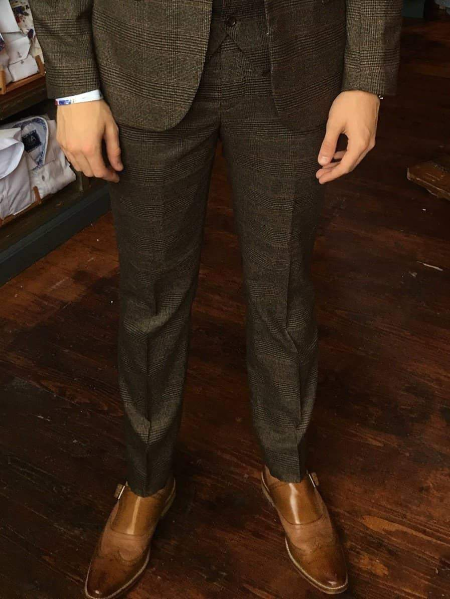 Marc Darcy James Multi Tonal Prince of Wales Check Suit Trousers - Brown 28R / Brown