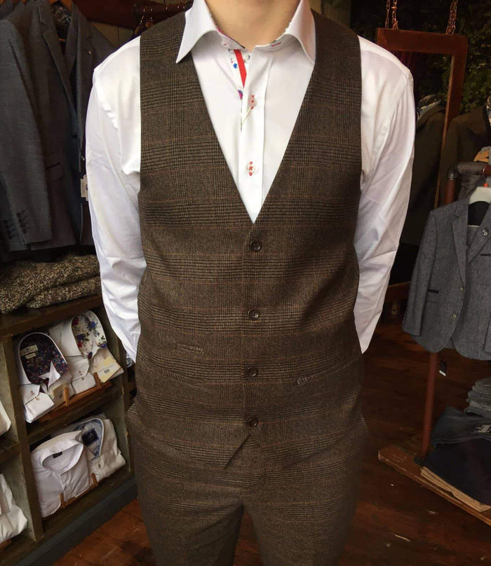 Marc Darcy Marc Darcy James Multi Tonal Prince of Wales Check Suit Waistcoat - Brown £17.50