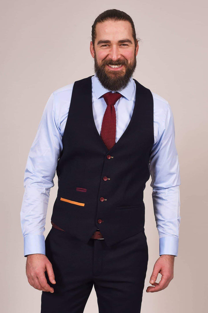 Marc Darcy JD4 Navy With Contrast Trim 3 Piece Suit marc-darcy-jd4-navy-with-contrast-trim-suit-blazer / marc-darcy-jd4-navy-with-contrast-trim-suit-waistcoat / marc-darcy-jd4-navy-suit-trousers
