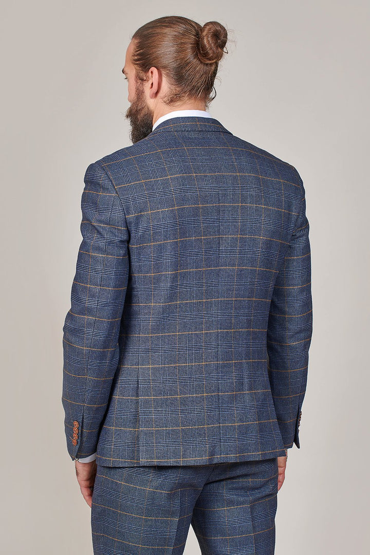 Marc Darcy Jenson Marine Navy Check 3 Piece Suit marc-darcy-jenson-marine-navy-check-blazer / marc-darcy-jenson-marine-navy-check-double-breasted-waistcoat / marc-darcy-jenson-marine-navy-check-trousers