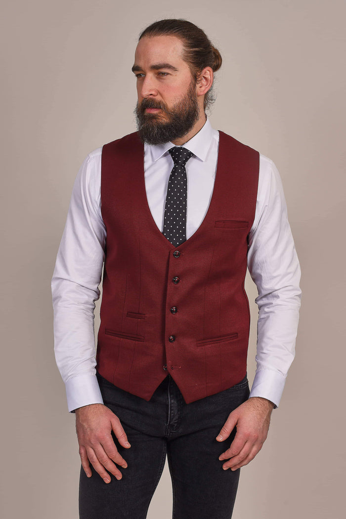 Marc Darcy Kelly Wine Single Breasted Tan Waistcoat 34R / Wine