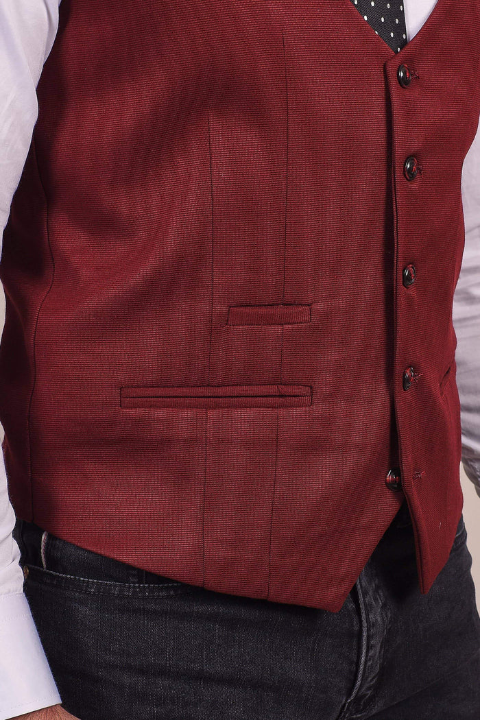 Marc Darcy Kelly Wine Single Breasted Tan Waistcoat