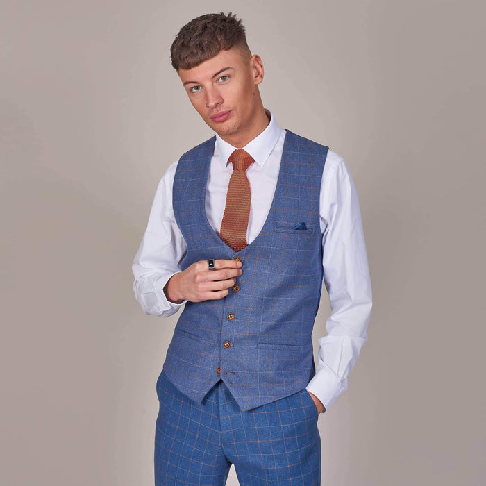 Marc Darcy Matthew Sky Blue Check Single Breasted Tweed Style Waistcoat 34R / Sky Blue