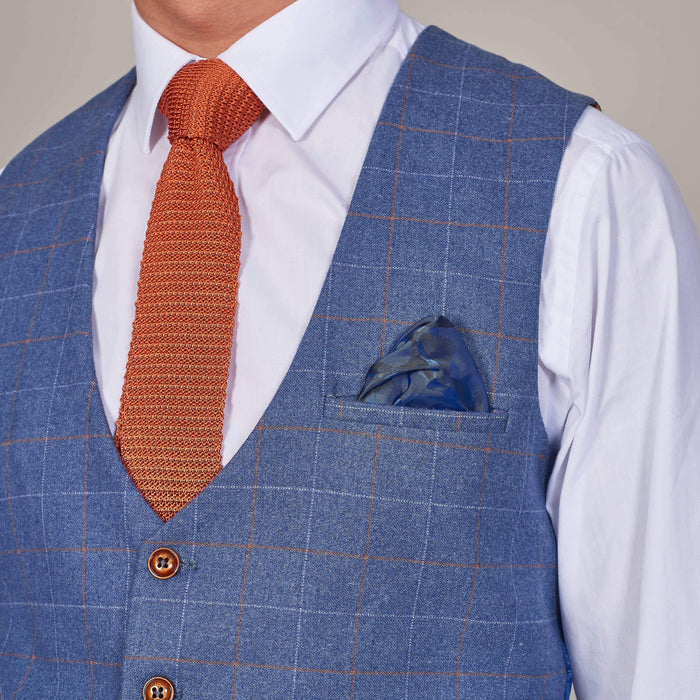 Marc Darcy Matthew Sky Blue Check Single Breasted Tweed Style Waistcoat