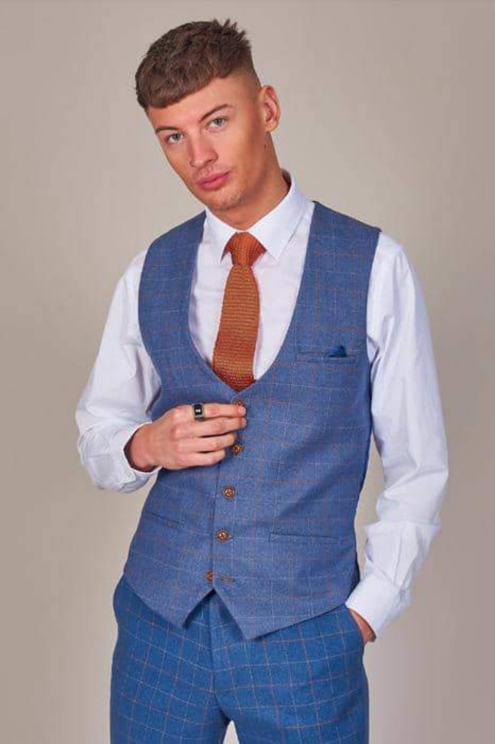 Marc Darcy Matthew Sky Blue Check Tweed Style Suit marc-darcy-matthew-sky-blue-check-tweed-style-blazer / marc-darcy-matthew-sky-blue-check-single-breasted-tweed-style-waistcoat / marc-darcy-matthew-sky-blue-check-tweed-style-trousers