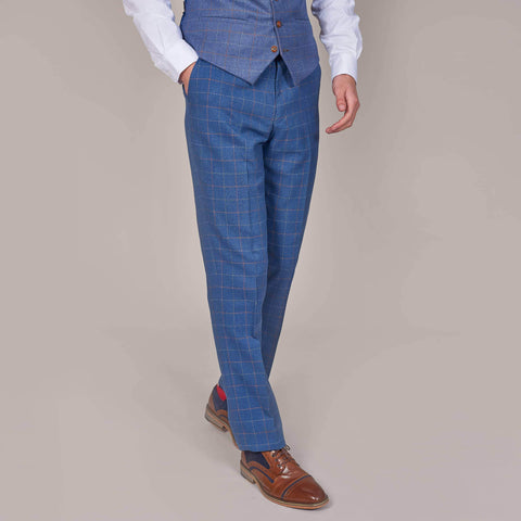 Marc Darcy Matthew Sky Blue Check Tweed Style Trousers 28R / Sky Blue