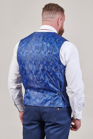 Marc Darcy Max Royal Blue Waistcoat with Contrast Buttons
