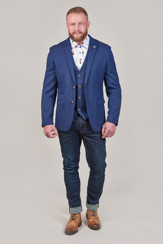 Marc Darcy Max Royal Blue with Contrast Buttons 3 Piece Suit marc-darcy-max-royal-blue-blazer-with-contrast-buttons / marc-darcy-max-royal-blue-waistcoat-with-contrast-buttons / marc-darcy-max-royal-blue-trousers-with-contrast-buttons