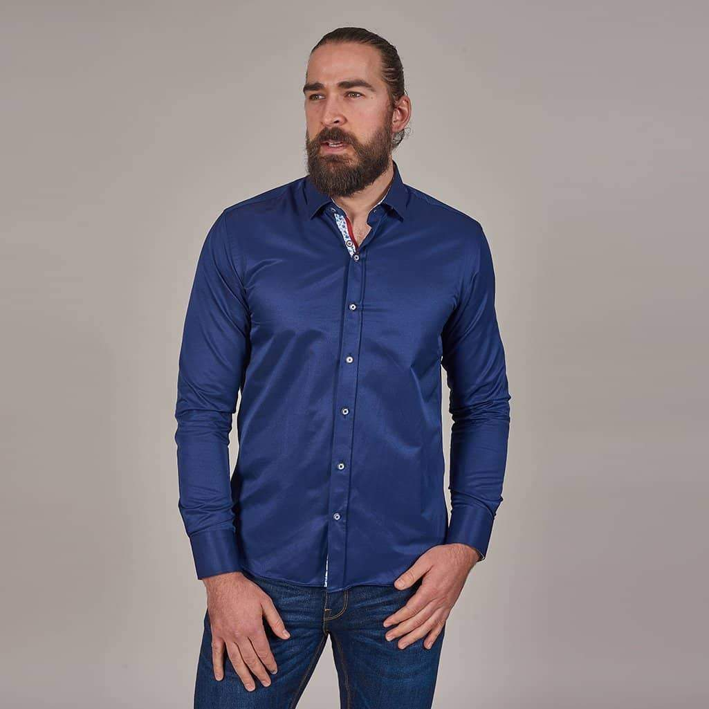 Marc Darcy Navy Shirt With Floral Detail S / Navy
