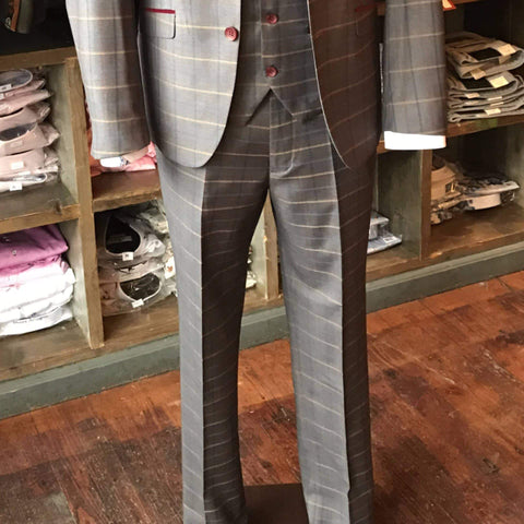 Marc Darcy Patrick Multi Tonal Check Suit Trousers - Grey 28R / Grey