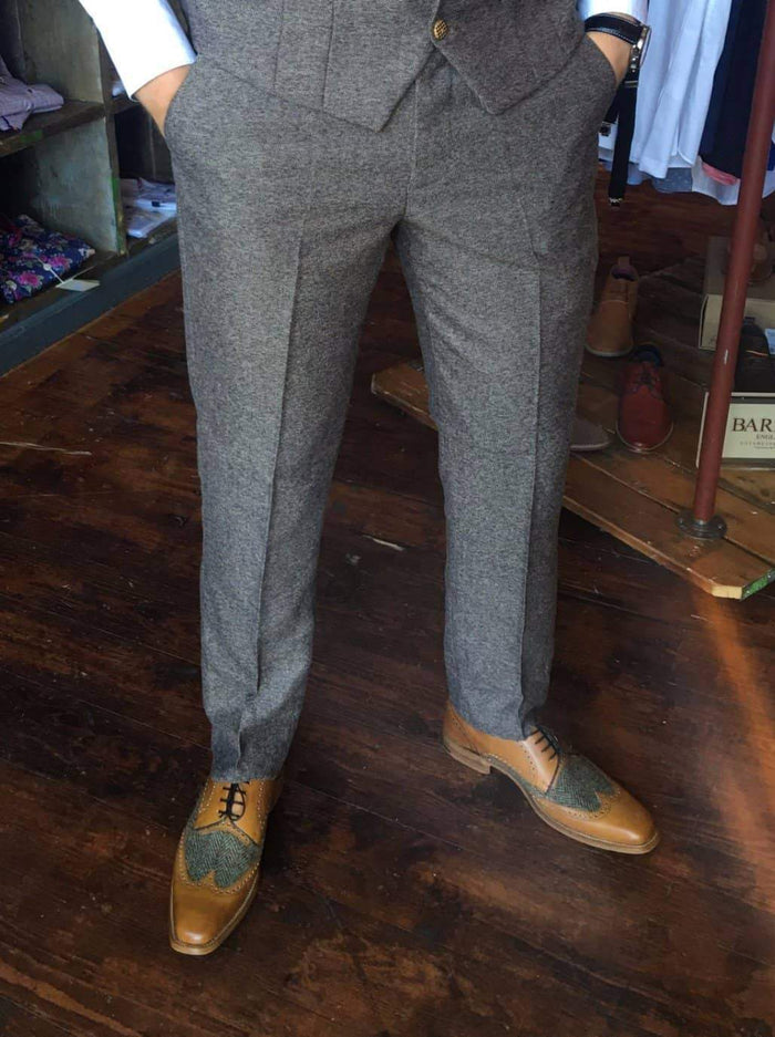 Marc Darcy Rayford Tweed Trousers - Tan 30R / Tan