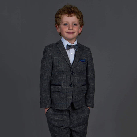 Marc Darcy Scott Grey Check Tweed Style Boys 3 Piece Suit Age 1
