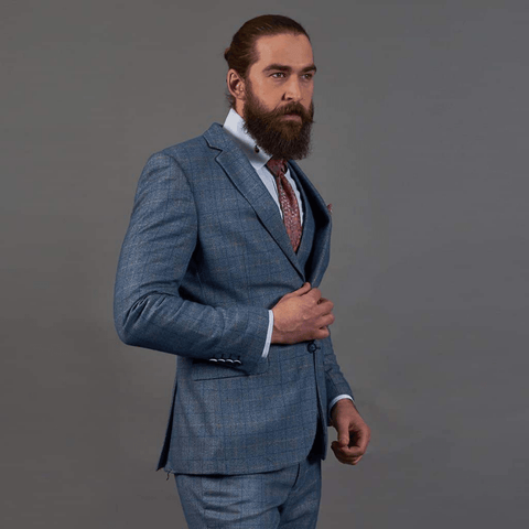 Marc Darcy Sky Blue Check Tweed Style 3 Piece Suit marc-darcy-sky-blue-check-tweed-style-suit-blazer / marc-darcy-sky-blue-check-tweed-style-single-breasted-waistcoat / marc-darcy-sky-blue-check-tweed-style-suit-trousers