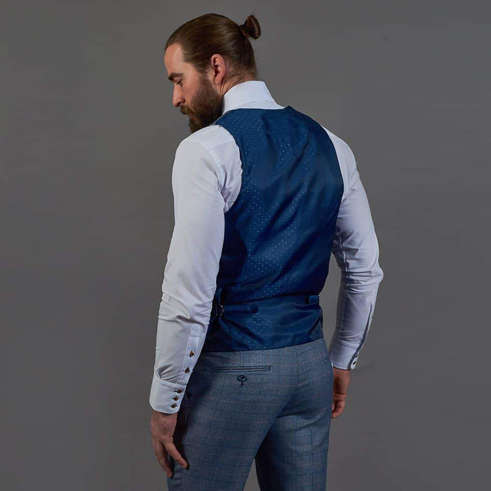 Marc Darcy Sky Blue Check Tweed Style Single Breasted Waistcoat