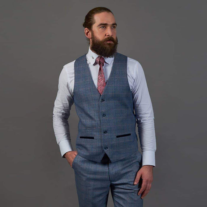 Marc Darcy Sky Blue Check Tweed Style Single Breasted Waistcoat 34R / Sky Blue
