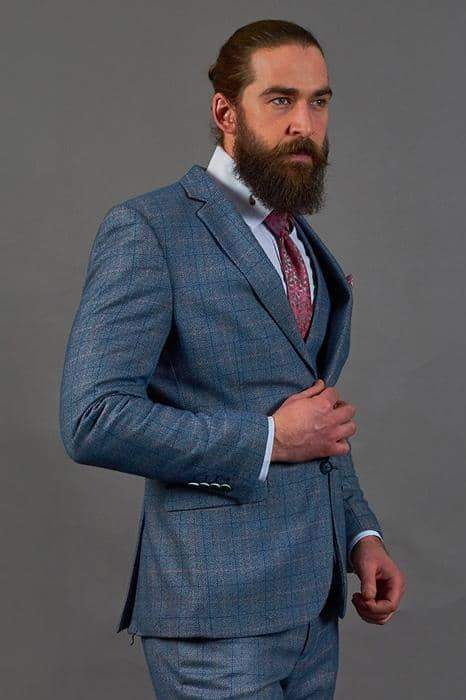 Marc Darcy Sky Blue Check Tweed Style Suit Blazer