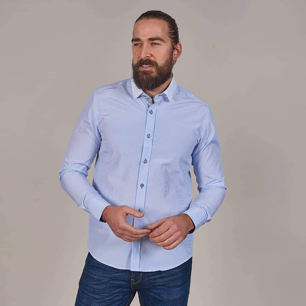Marc Darcy Marc Darcy Sky Blue Stripe Shirt With Penny Collar £39.99